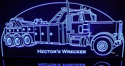 Wrecker Tow Truck Acrylic Lighted Edge Lit LED Truck Towing Garage Sign / Light Up Plaque