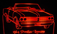 1964 Pontiac Lemans Convertible Acrylic Lighted Edge Lit LED Car Sign / Light Up Plaque