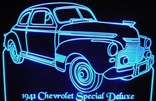 1941 Chevy Special Deluxe Acrylic Lighted Edge Lit LED Car Sign / Light Up Plaque Chevrolet