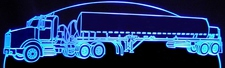 Semi Kenworth Gas Oil Tanker Acrylic Lighted Edge Lit LED Truck Sign / Light Up Plaque