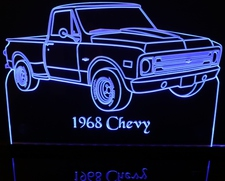 1968 Chevy Pickup Truck Acrylic Lighted Edge Lit LED Sign / Light Up Plaque Chevrolet
