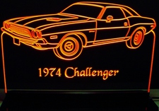 1974 Dodge Challenger Acrylic Lighted Edge Lit LED Car Sign / Light Up Plaque