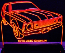 1972 AMC Gremlin Acrylic Lighted Edge Lit LED Car Sign / Light Up Plaque