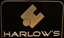 Harlows Business Advertising Logo Acrylic Lighted Edge Lit LED Sign / Light Up Plaque