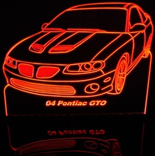 2004 Pontiac GTO Acrylic Lighted Edge Lit LED Car Sign / Light Up Plaque