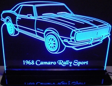1968 Chevrolet Camaro Rally Sport Acrylic Lighted Edge Lit LED Car Sign / Light Up Plaque