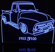 1953 Ford Pickup Truck Acrylic Lighted Edge Lit LED Sign / Light Up Plaque Full Size Made in USA