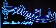 Live Music Nightly Music Scale DJ Acrylic Lighted Edge Lit LED Sign / Light Up Plaque Full Size Made in USA