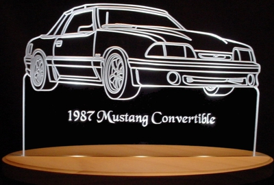 1987 Mustang Convertible Ford Acrylic Lighted Edge Lit LED Sign / Light Up Plaque Full Size Made in USA