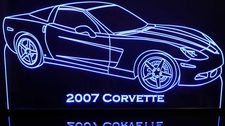 2007 Chevy Corvette Acrylic Lighted Edge Lit LED Car Sign / Light Up Plaque Chevrolet