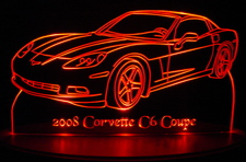 2008 Corvette Acrylic Lighted Edge Lit LED Sign / Light Up Plaque Full Size Made in USA