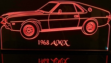 1968 AMC Javelin AMX Acrylic Lighted Edge Lit LED Sign / Light Up Plaque Full Size Made in USA