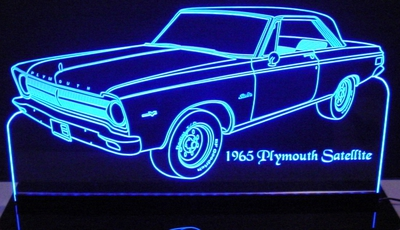 1965 Plymouth Satellite Acrylic Lighted Edge Lit LED Car Sign / Light Up Plaque