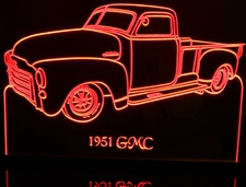 1951 GMC Pickup Truck Acrylic Lighted Edge Lit LED Sign / Light Up Plaque