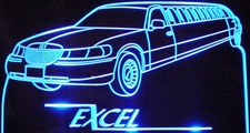 1999 Lincoln Towncar Limousine Company Business Logo Acrylic Lighted Edge Lit LED Sign / Light Up Plaque Full Size USA Original