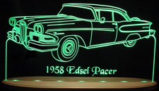 1958 Edsel Pacer Acrylic Lighted Edge Lit LED Sign / Light Up Plaque Full Size Made in USA