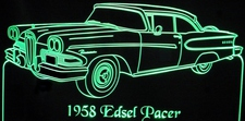 58 Edsel Pacer Acrylic Lighted Edge Lit LED Sign / Light Up Plaque Full Size Made in USA