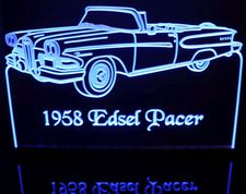 1958 Edsel Pacer Convertible Acrylic Lighted Edge Lit LED Sign / Light Up Plaque Full Size Made in USA