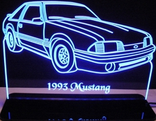 1993 Ford Mustang Acrylic Lighted Edge Lit LED Car Sign / Light Up Plaque