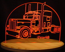 2000 Peterbilt Semi Truck Acrylic Lighted Edge Lit LED Sign / Light Up Plaque