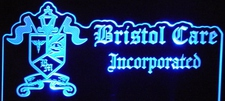 Bristol Care Business Advertising Logo Acrylic Lighted Edge Lit LED Sign / Light Up Plaque