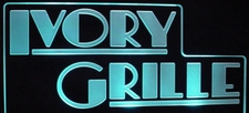 Ivory Grille Business Advertising Logo Acrylic Lighted Edge Lit LED Sign / Light Up Plaque Full Size Made in USA