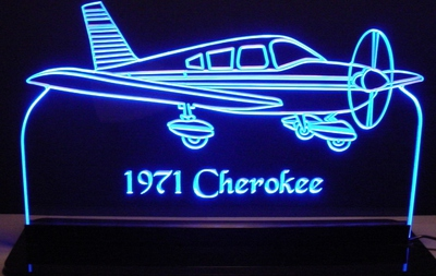 1971 Cherokee Airplane Acrylic Lighted Edge Lit LED Sign / Light Up Plaque Full Size Made in USA