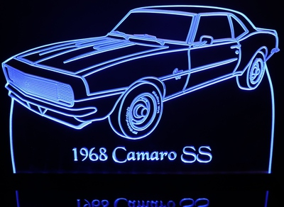 1968 Chevy Camaro SS Acrylic Lighted Edge Lit LED Car Sign / Light Up Plaque Chevrolet