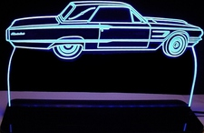 1965 Ford Tbird Landau Acrylic Lighted Edge Lit LED Sign / Light Up Plaque Thunderbird Full Size Made in USA