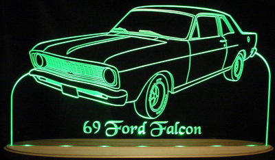 1969 Falcon Acrylic Lighted Edge Lit LED Car Sign / Light Up Plaque Ford