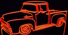 1956 Ford F100 No Vent Pickup Truck Acrylic Lighted Edge Lit LED Sign / Light Up Plaque Full Size Made in USA