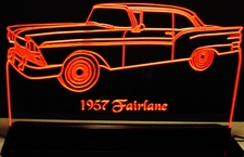 1957 Fairlane Acrylic Lighted Edge Lit LED Sign / Light Up Plaque Full Size Made in USA