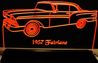1957 Ford Fairlane Acrylic Lighted Edge Lit LED Car Sign / Light Up Plaque 57