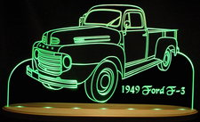 1949 Ford F3 Pickup F-3 Truck F 3 Acrylic Lighted Edge Lit LED Sign / Light Up Plaque
