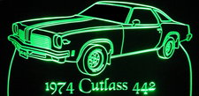 1974 Oldsmobile Cutlass 442 Acrylic Lighted Edge Lit LED Car Sign / Light Up Plaque