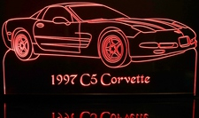 1997 Chevy Corvette Acrylic Lighted Edge Lit LED Sign / Light Up Plaque Full Size Made in USA