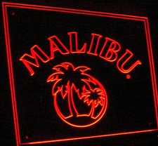 Malibu Advertising Business Logo Acrylic Lighted Edge Lit LED Sign / Light Up Plaque