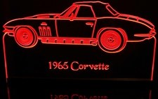 1965 Chevy Corvette Convertible Acrylic Lighted Edge Lit LED Car Sign / Light Up Plaque Chevrolet
