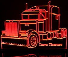2000 Peterbilt Semi Truck (add your own text) Acrylic Lighted Edge Lit LED Sign / Light Up Plaque Full Size Made in USA