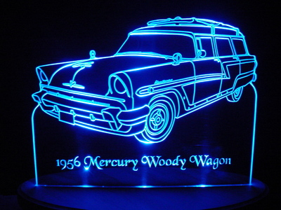 1956 Mercury Monterey Woody Wagon Acrylic Lighted Edge Lit LED Car Sign / Light Up Plaque
