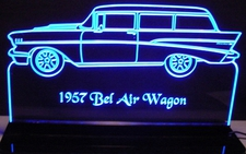 1957 Chevy SW Station Wagon Bel Air Acrylic Lighted Edge Lit LED Car Sign / Light Up Plaque Chevrolet Belair