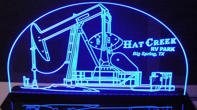Oil Rig Well Pump Jack Derrick Drill Acrylic Lighted Edge Lit LED Sign / Light Up Plaque Full Size Made in USA