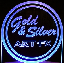 Gold & Silver Art FX SAMPLE Trophy Business Logo Advertising Acrylic Lighted Edge Lit LED Sign / Light Up Plaque