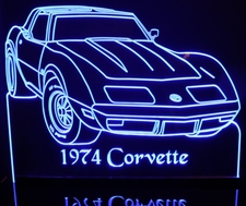 1974 Chevy Corvette Acrylic Lighted Edge Lit LED Car Sign / Light Up Plaque Chevrolet
