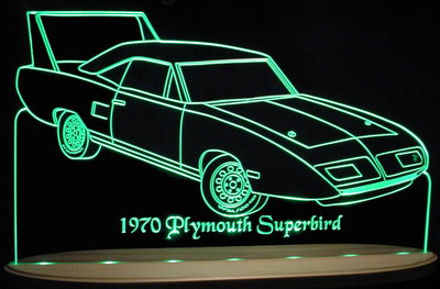 1970 Plymouth Sunbird Acrylic Lighted Edge Lit LED Car Sign / Light Up Plaque