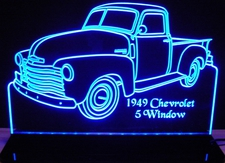 1949 Chevy Pickup Truck 5 Window No Spare Acrylic Lighted Edge Lit LED Sign / Light Up Plaque Full Size Made in USA