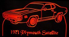 1971 Plymouth Satellite Sebring Acrylic Lighted Edge Lit LED Car Sign / Light Up Plaque