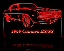 1969 Camaro RS SS Acrylic Lighted Edge Lit LED Sign / Light Up Plaque Full Size Made in USA