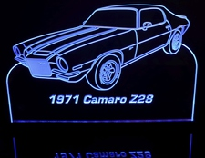 1971 Chevy Camaro Z28 Acrylic Lighted Edge Lit LED Car Sign / Light Up Plaque Chevrolet