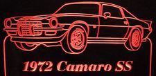 1972 Chevy Camaro SS Z28 Acrylic Lighted Edge Lit LED Sign / Light Up Plaque Chevrolet Full Size Made in USA